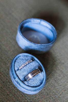 wedding rings in blue box display