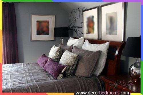 غرفة نوم رجالية باللون الرمادي والموف