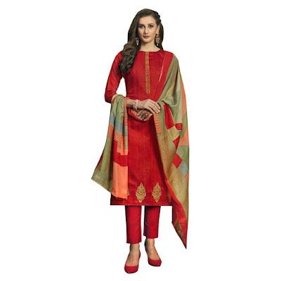 Long Trouser Salwar-Kameez Suit Printed Dupatta