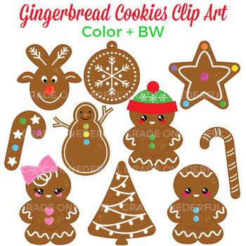 Gingerbread cookies clip art. 10 super cute cookies; perfect for your Christmas projects.