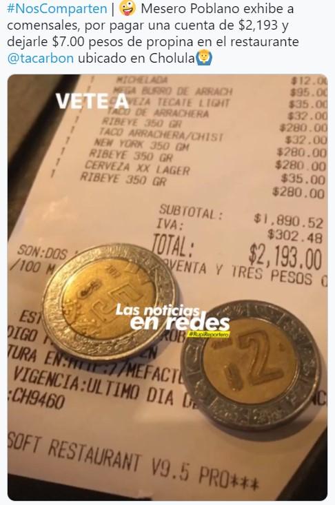 Mesero enojado exhibe a clientes que pagaron más de 2 mil pesos y solo le dejaron 7 pesos de propina
