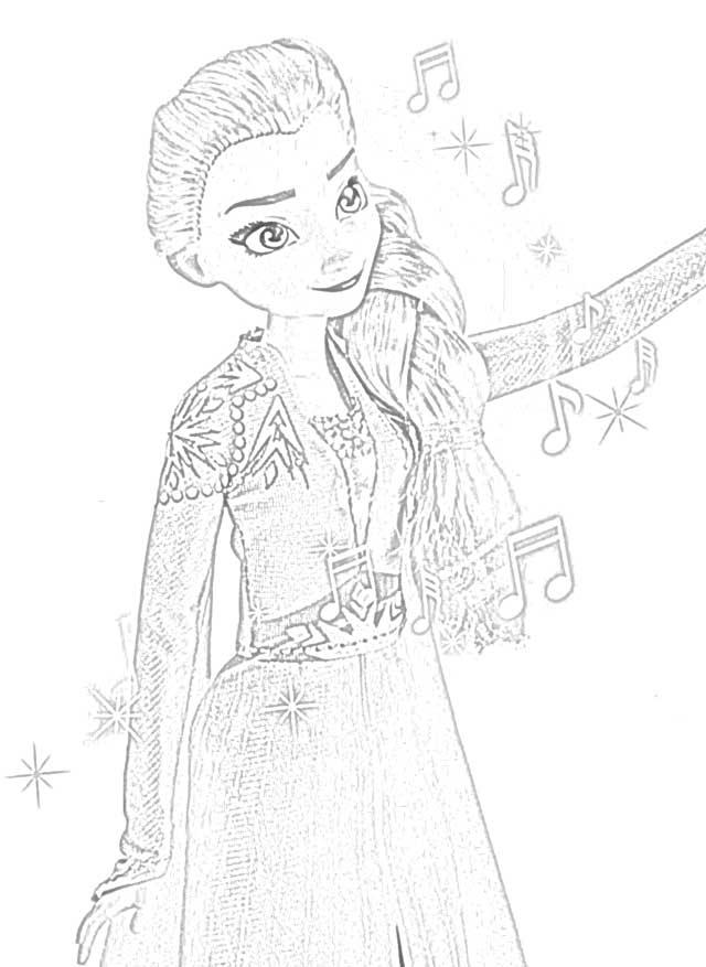Frozen 2 Coloring Pages Elsa White Dress - colouring mermaid