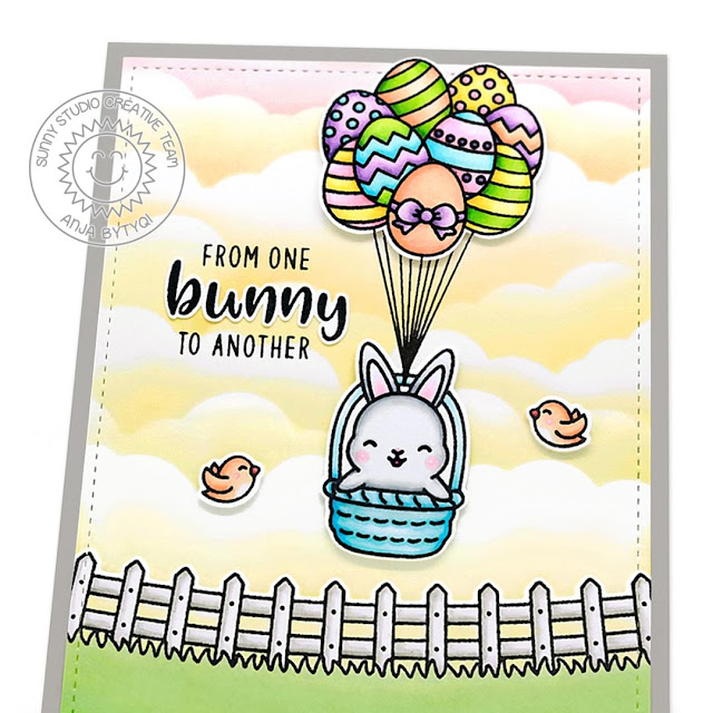Sunny Studio Stamps: Chickie Baby Frilly Frame Dies Chubby Bunny Floating By Fluffy Cloud Border Dies Easter Card by Anja Bytyqi