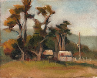 Oil painting of two sheds near some conifers with distant hills.