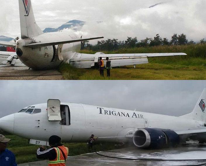 Trigana Air Tergelincir Bandara Wamena Papua