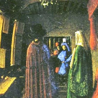 Jan van Eyck's Arnolfini Portrait detail of convex mirror close up including the artist himself with his servant