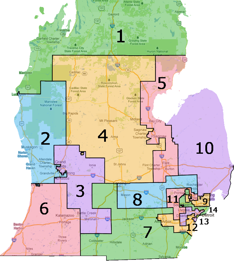 Us House Of Representatives District Map Michigan - Us-house-of-representatives-map-by-state