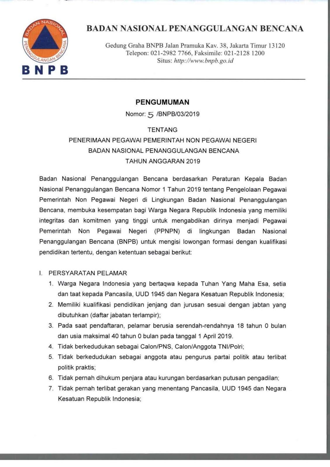 Lowongan Badan Nasional Penanggulangan Bencana Republik Indonesia Minimal SMA D3 S1 Besar Besaran