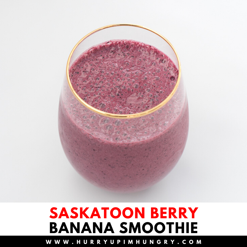 Saskatoon berry banana smoothie recipe with yogurt