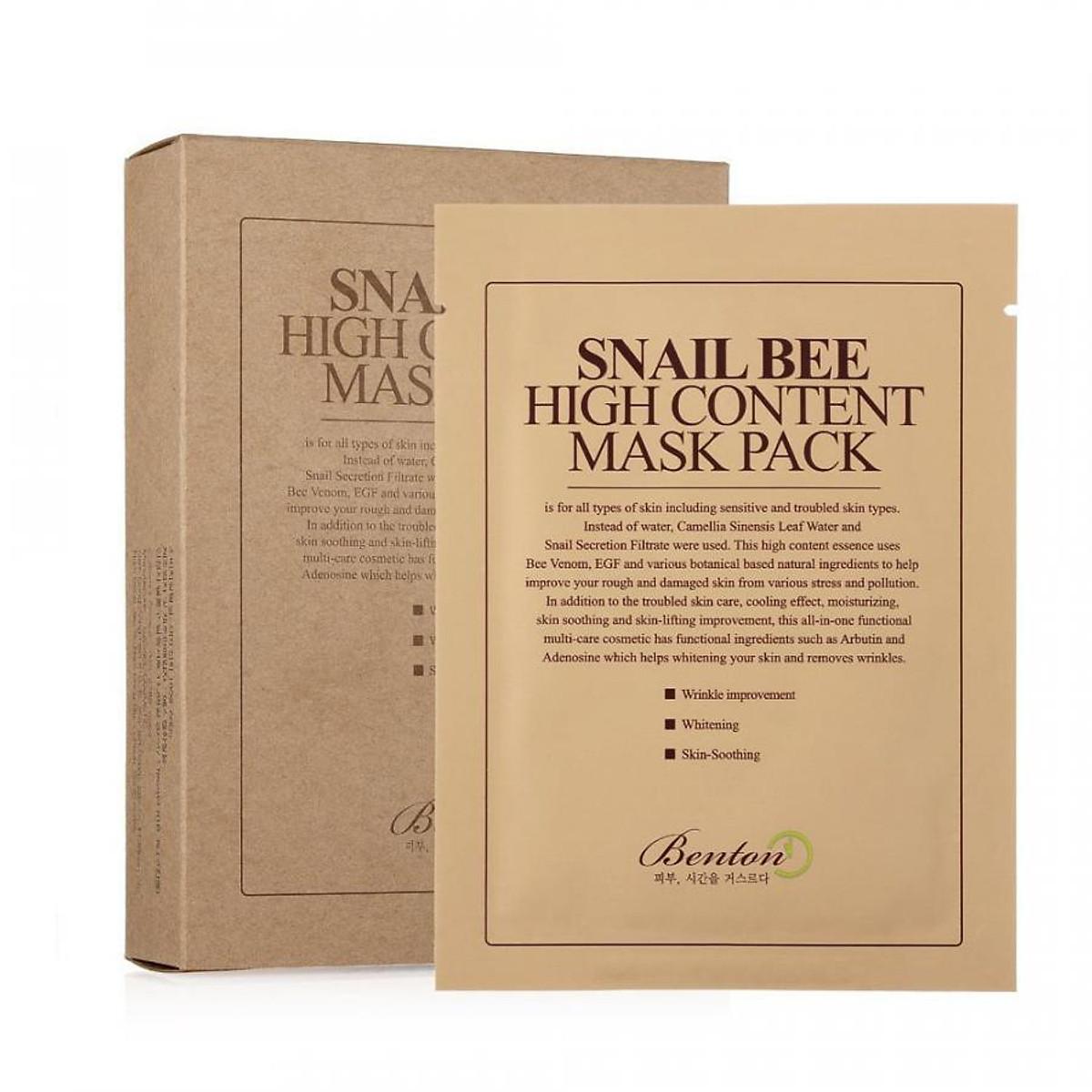Mặt nạ giấy tinh chất ốc sên Benton Snail Bee High Content Mask Pack là sự lựa chọn tuyệt vời giúp da phục hồi và tăng sản xuất collagen sau khi lăn kim