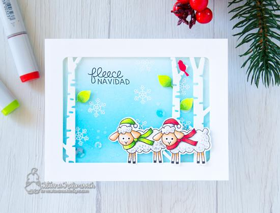 Sheep Christmas Card by Tatiana Trafimovich | Fleece Navidad Stamp Set and Forest Scene Builder Die Set by Newton's Nook Designs #newtonsnook #handmade