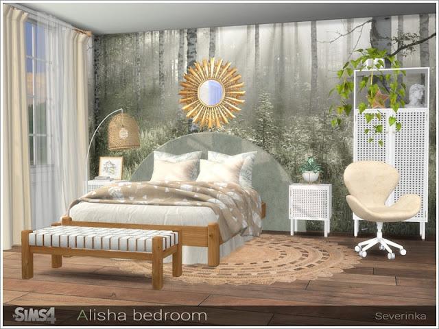 Alisha bedroom (part I) Спальня Алиши (часть I) для The Sims 4 Набор мебели и декора для дизайна спальни в стиле ScandiBoho Набор включает в себя 11 предметов: - двуспальная кровать - одеяло с двуспальной кроватью - подушки с двуспальной кроватью - кровать с двуспальной кроватью - столик - высокий стол - шкаф - пуф - пуф - занавес - напольный ротанг - зеркало Автор: Severinka_