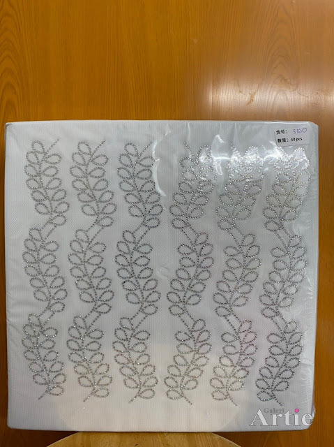 Sticker hotfix rhinestone DMC 6 jalur aplikasi tudung, bawal & fabrik pakaian motif daun berantai