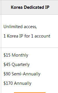 Price of  Korea Dedicated VPN