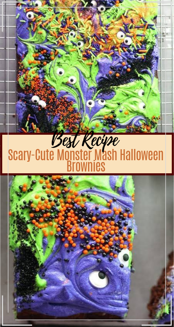 Scary-Cute Monster Mash Halloween Brownies #desserts #cakerecipe #chocolate #fingerfood #easy