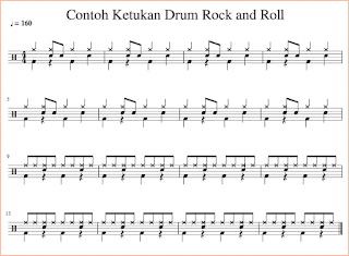 gambar notasi bas drum rock n roll pada not balok