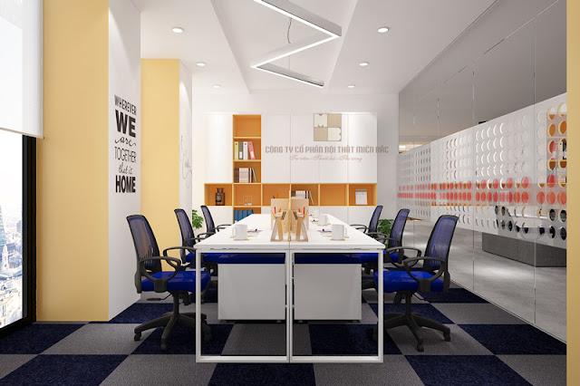 Thiết kế nội thất phòng làm việc đẹp ngân hàng PVcombank - H1