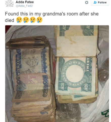 Twitter user finds bundles of old Naira notes in her grandmother's room after she passed away