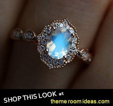 Moonstone engagement ring women,Vintage diamond wedding ring art deco ring rose gold ring Anniversary bridal ring