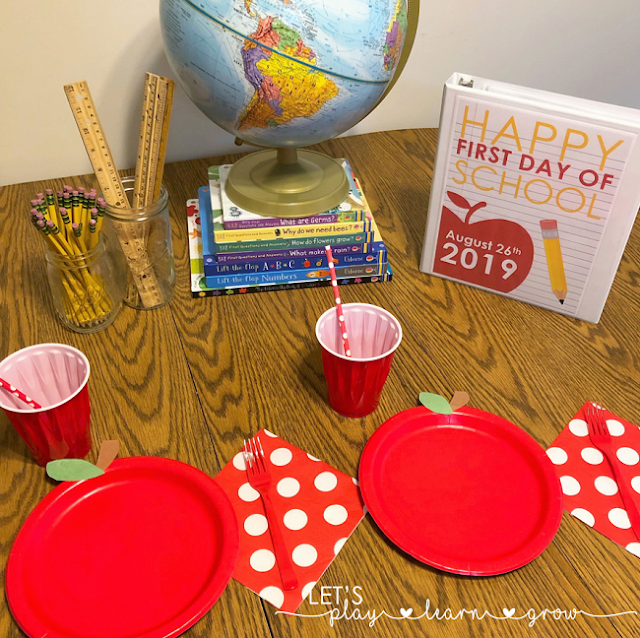 Set up a fun festive first day of school breakfast to kick off a new school year