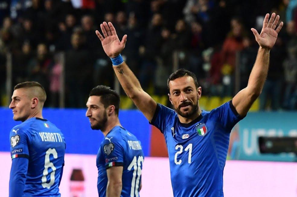 Italia-Liechtenstein 6-0, risultato con gol di Sensi, Verratti, Quagliarella (2), Kean e Pavoletti.