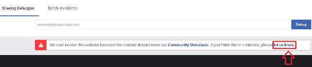 click on let us know to unblock your website from facebook.