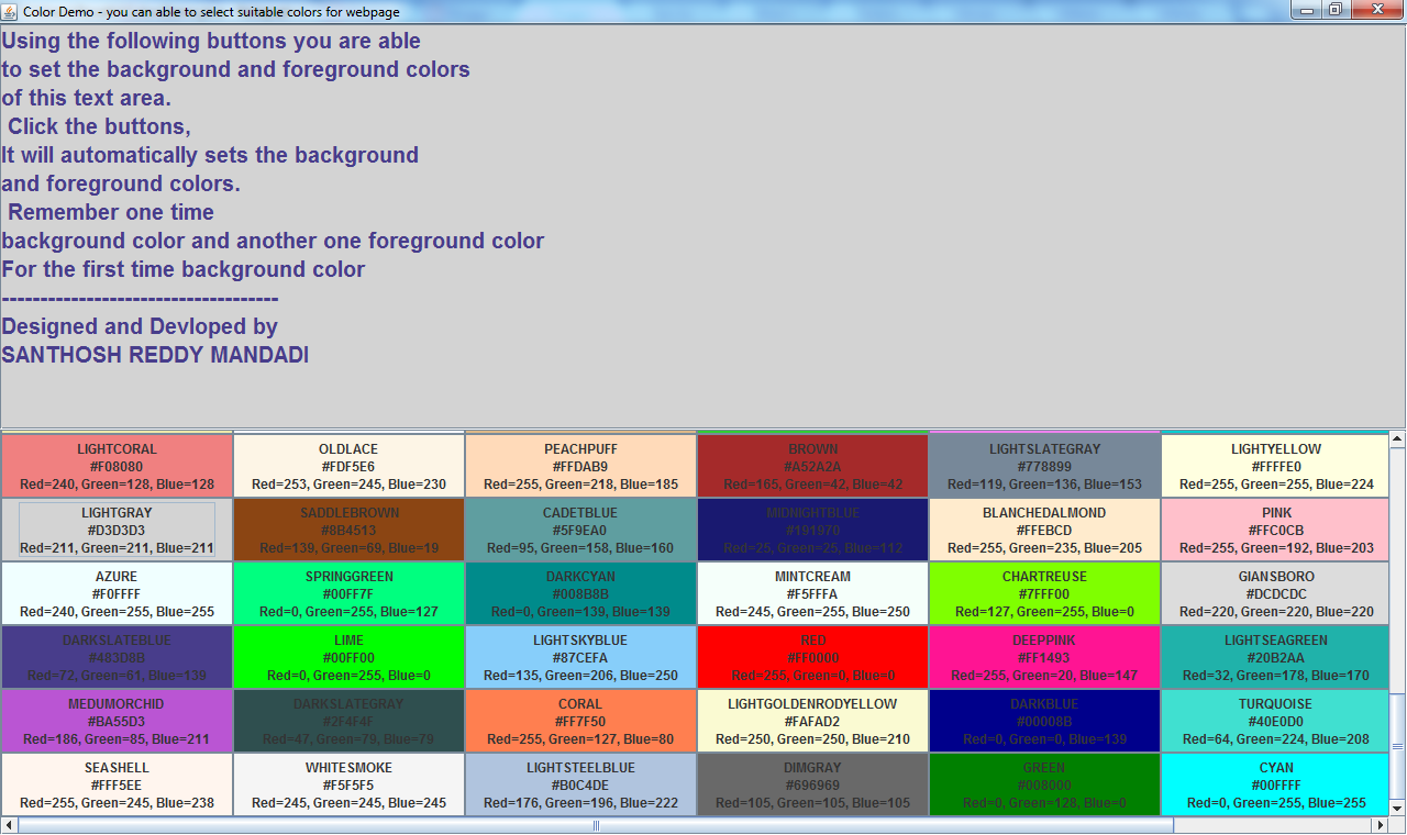 Java program to demonstrate web colors with swings