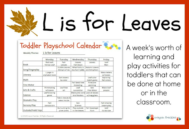 Crayon Freckles: Toddler Playschool: L is for Leaves Lesson Plan ...