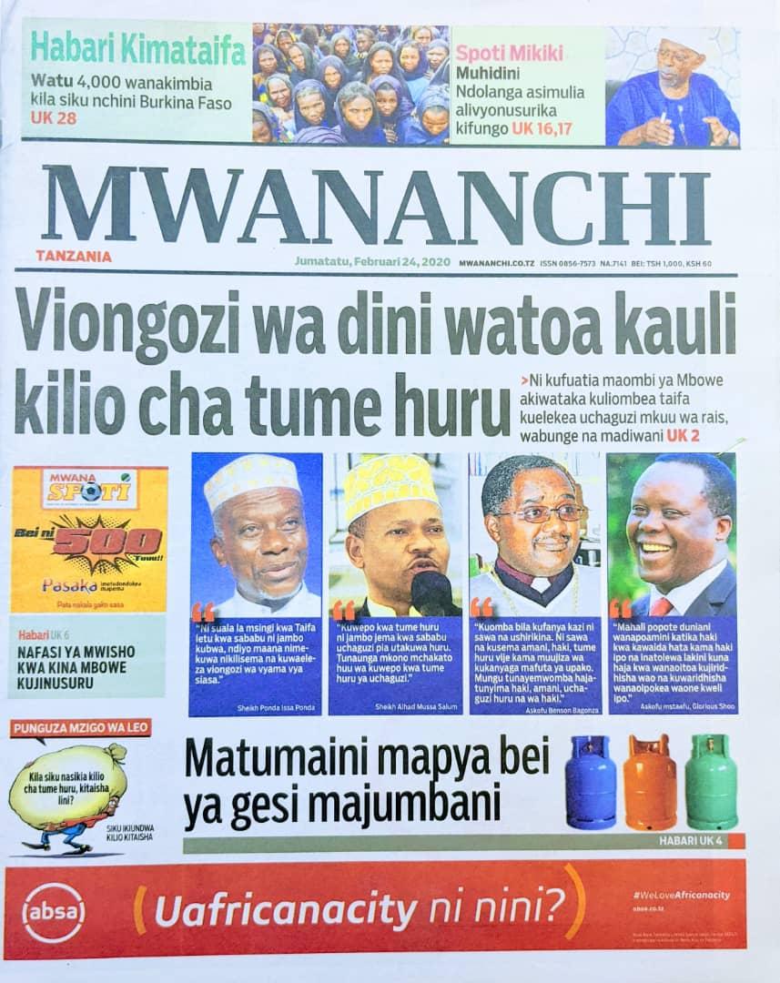 Habari Zilizopo Katika Magazeti ya Leo Jumatatu February 24