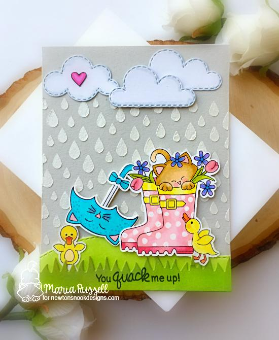 Spring kitty in Rain boots Card by Maria Russell | Newton's Rain Boots Stamp Set, Umbrella Plas Stamp Set, Land Borders Die Set and Raindrops Stencil by Newton's Nook Designs #newtonsnook #handmade