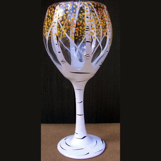 Trees hand-painted wine glasses DIY