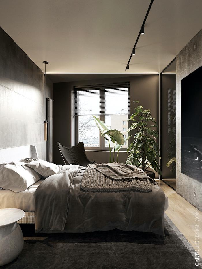 Dormitorio con una decoración moderna