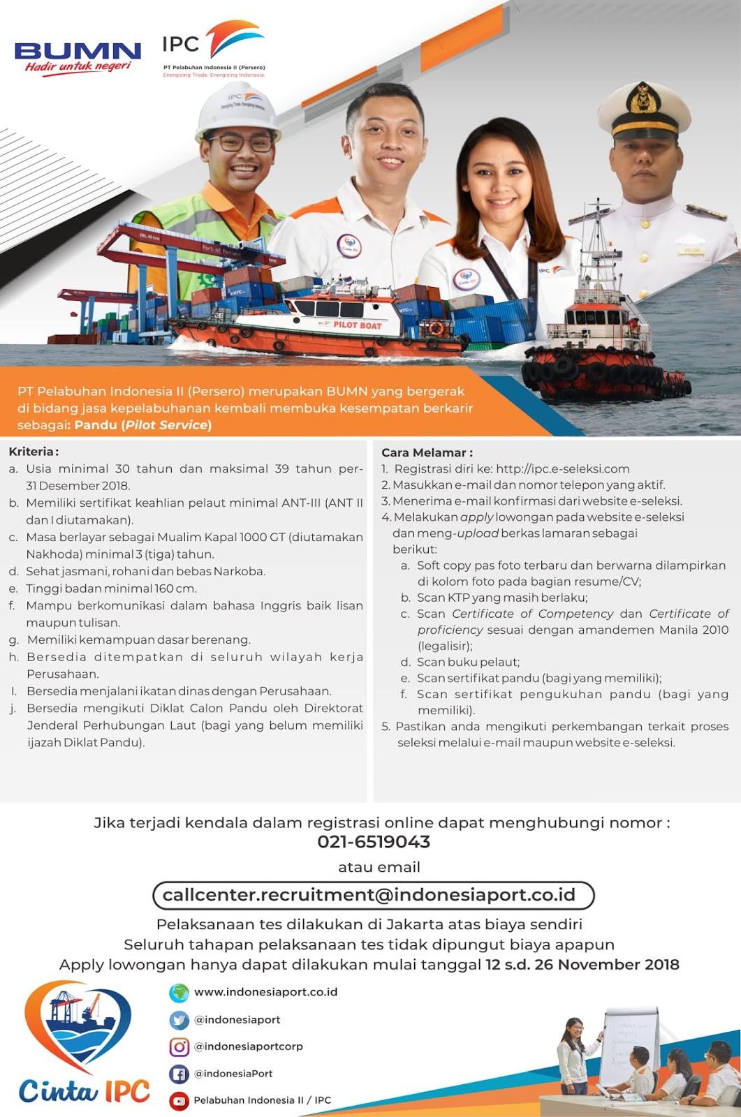 Lowongan Kerja Bumn Pt Pelabuhan Indonesia Ii Persero Deadline 26 November 2018 Rekrutmen Dan Lowongan Kerja Bulan Februari 2021