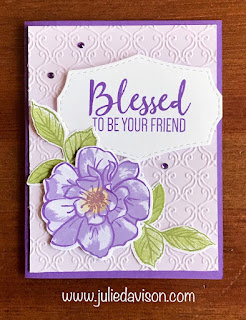 Stampin' Up! To a Wild Rose: Blessed to Be Your Friend Card ~ www.juliedavison.com #stampinup #purpleposy