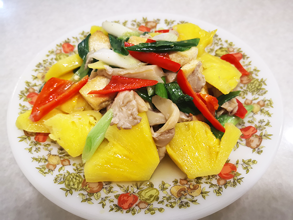 5 Color Vegetarian Dish - What's a pineapple doing here?