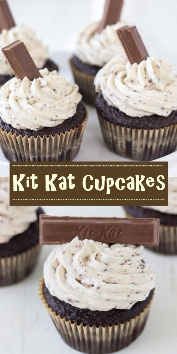 Kit Kat Cupcakes #cupcakerecipes