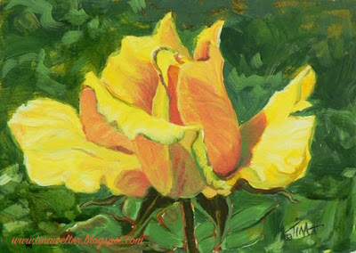 """One Golden Moment"" ©2017 Tina M.Welter, 4x6 inches acrylic on paper. Single yellow rose in bloom."