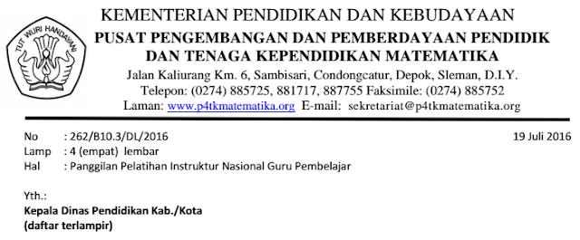 gambar surat Panggilan Pelatihan Instruktur Nasional Guru Pembelajar