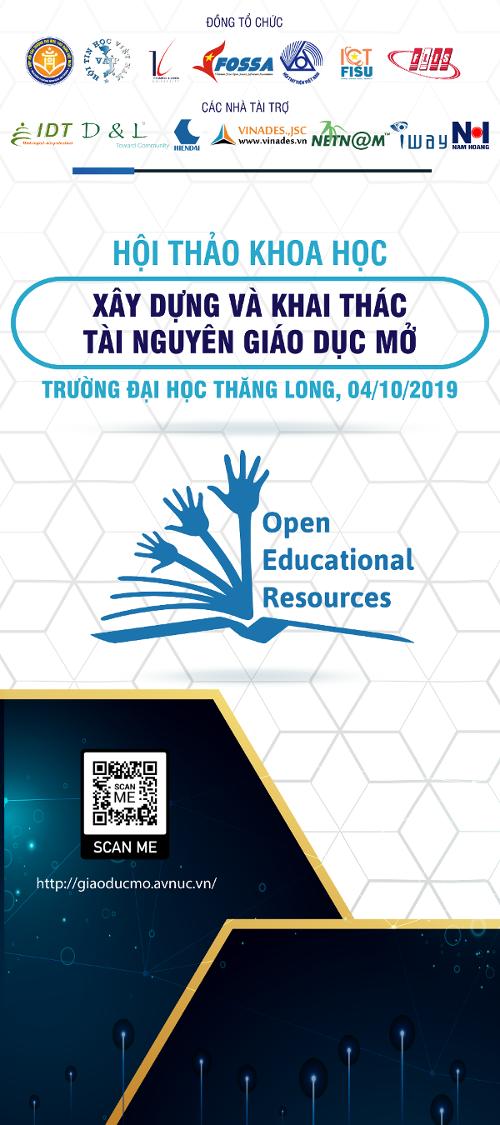 Tiếp tục đăng ký tham dự hội thảo 'Xây dựng và khai thác tài nguyên giáo dục mở' ngày 4/10 tại trường đại học Thăng Long, Hà Nội