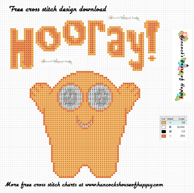Happy Hooray Monster Free Monster Cross Stitch Pattern