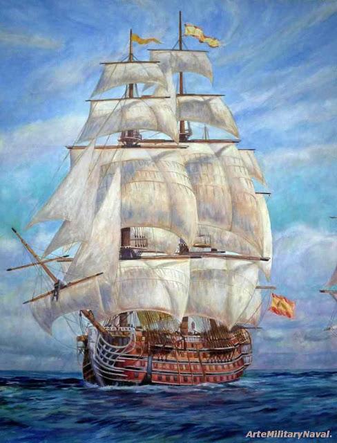 Óleo navío Santísima Trinidad navegando