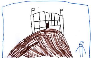 Ein Berg, eine Burg, eine verschlossene Burgtür. Ein trauriges Nixklusionsmännchen am Fuß des Berges.