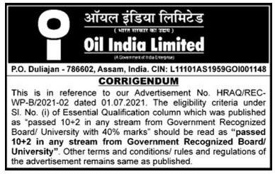 OIL India Job Educational Qualification  Notification