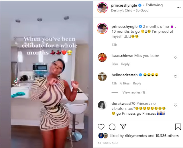 Actress Princess Shyngle celebrates her second month of not having s3x