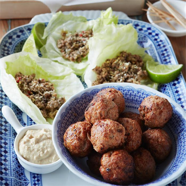 Middle Eastern lamb meatballs in a serving bowl