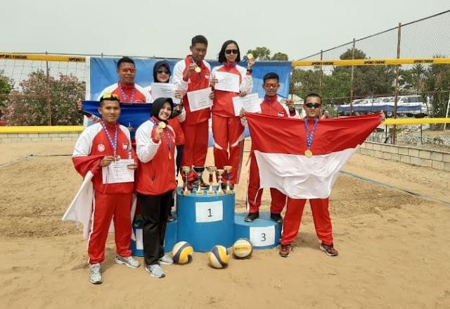 Satgas Indobatt XXIII-M Sapu Bersih Medali Emas Unifil Bola Voli Pantai