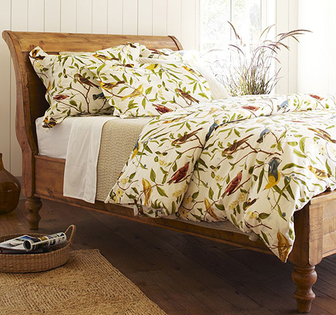 Bird Motif Bedding - spring decorating idea from Pottery Barn