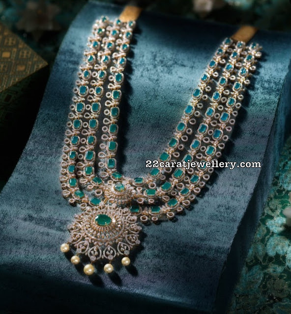 Three Layer Diamond Emerald Set