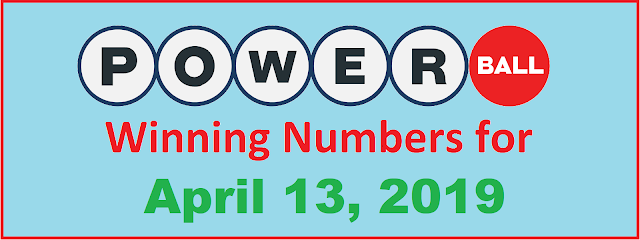PowerBall Winning Numbers for Saturday, April 13, 2019