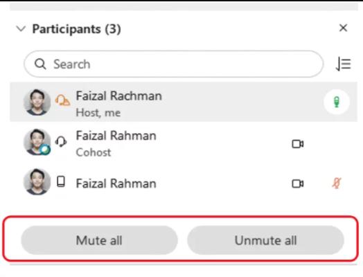 mute all webex meet fiture